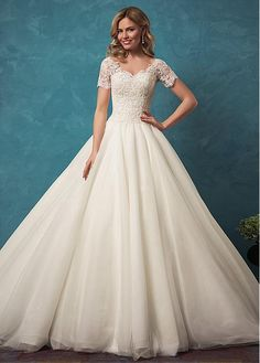 Buy discount Fabulous Tulle V-neck Neckline Ball Gown Wedding Dress With Beaded Lace Appliques at Dressilyme.com