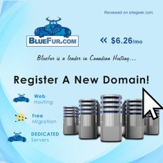 Bluefur is a Canadian hosting company offers reliable and fast hosting solutions.  Click on below link for more details:  https://www.sitegeek.com/bluefur  Company established to meet the demands of customers especially for small and medium sized businesses at affordable rates. Their user-friendly control panel makes email and website online a snap. In addition, customers can migrate entire website to Blurfur for free with the help of support team.
