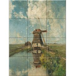 Paul Joseph Constantin Gabriel A Windmill on a Polder Waterway, Known as 'In the Month of July', oil on canvas, 102 x 66 cm. Decorative Tile, Rembrandt, Windmill, 17th Century, Art Reproductions, High Gloss, Gabriel, Oil On Canvas, Joseph