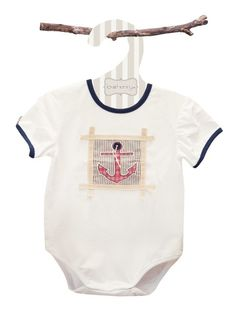 Bodies are really handy items to have to have in your #babywardrobe and this one has a gorgeous #nautical design, with an applique red checked anchor on a background of nautical stripes. There are poppers for easy nappy changing and easy dressing. It is made from 100% cotton, to ensure it is practical and comfortable.