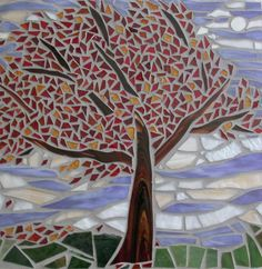 Mosaic tree, love the inspiration Wood Mosaic, Mosaic Glass, Mosaic Projects, Mosaic Ideas, Mosaic Crafts, Weather Crafts, Mosaic Designs, Crafts For Kids, Product Launch
