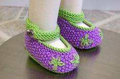 Hand Knit Lovely Lavender Flower Booties/Mary Jane Shoes - 12-18 Months