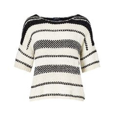 Polo Ralph Lauren Boxy Cotton-Blend Sweater (€280) ❤ liked on Polyvore featuring tops, sweaters, ralph lauren sweater, drape top, short sleeve tops, white boxy top and drapey tops