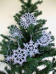 Sparkling Crochet snowflakes large snowflake tree by DoroGato