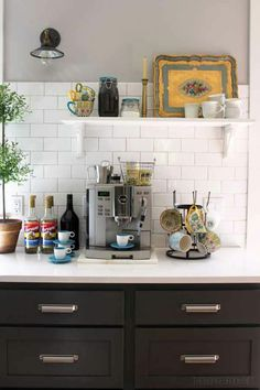 Home Design, Küchen Design, Layout Design, Design Ideas, Coffee Station Kitchen, Home Coffee Stations, Make Your Own Coffee, Tea Station, Space Station