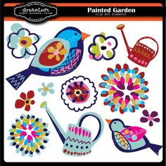 Painted Garden Collection Clip Art for party themes, invitations, stationary, scrapbooking and more. $4.99, via Etsy.
