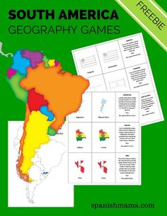 "Free printable pack for learning about South American countries. Includes country, capital, and ""Guess what country I am"" cards, with a printable map and ideas for games."