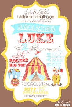 free editable circus party invitation, includes party ideas & more!