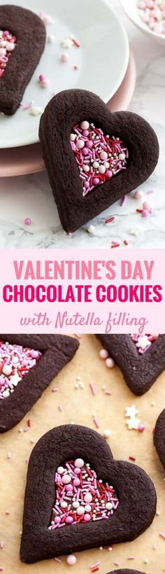 These soft decorated Chocolate Sugar Cookies are perfect for Valentine's Day! Filled with Nutella and decorated with sprinkles, these easy heart-shaped chocolate sandwich cookies have a tender center, crisp edges, and make a great edible Valentine's gift. Valentines Day Chocolates, Valentines Day Cakes, Valentine Cookies, Valentine Stuff, Kids Valentines, Nutella Sandwich, Sandwich Cookies, Chocolate Sugar Cookies, Chocolate Desserts