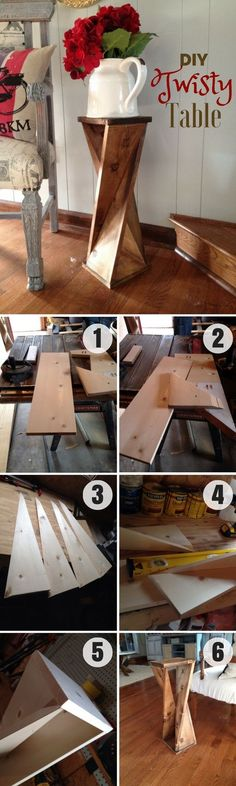 Plans of Woodworking Diy Projects - Check out how to make this easy DIY Twisty Table Industry Standard Design Get A Lifetime Of Project Ideas & Inspiration!