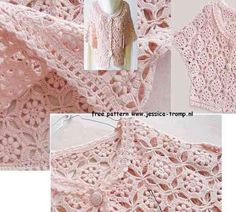 FREE crochet patterns for women's clothes crocheted with flowers, + pattern instructions