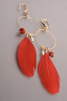 Hand dyed red ptarmigan feather earrings