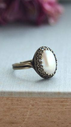 Ivory Pearl Ring. Wedding Pearl Jewelry. Champagne Ivory Pearl Lace Crown…