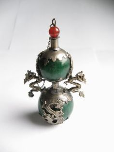 old tibetan jade perfume bottle inlay dragon