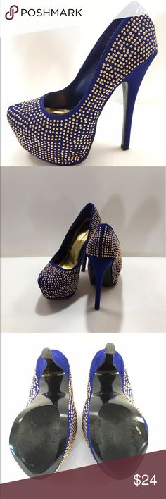 "Shoedazzle Cobalt Blue, Gold Studded Stiletto Shoedazzle Karlie collection. Beautiful color (cobalt) with gold studs! Worn twice, some light wear. 6"" heel with 2"" platform. Size 6 Shoe Dazzle Shoes Heels"