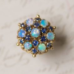 Gorgeous Vintage 14k Yellow Gold Opal & Blue Sapphire Cluster Ring Size 7.25 $535