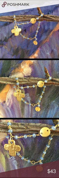 Periwinkle colored gemstone w Cross Pendant Shimmering gems are tied together by a 14kt gold filled wire. Gold Cross Pendant and periwinkle color shine and compliments delicately. Jewelry Bracelets