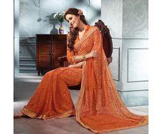Orange Printed Designer Saree