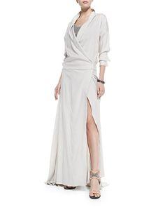 Long-Sleeve Silk Dress W/ High Slit by Brunello Cucinelli at Bergdorf Goodman.
