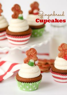 Gingerbread Cupcakes with Cinnamon Vanilla Cream Cheese Frosting!!
