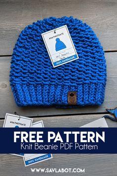 Free Knit Beanie Pattern – Savlabot Beanie Knitting Patterns Free, Crochet Beanie Pattern, Knit Or Crochet, Free Knitting, Crochet Hats, Hat Patterns, Knitting Projects, Knitting Ideas, Knitting Accessories