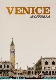 DP Vintage Posters - Original Alitalia Airlines Travel Poster, Venice Italy