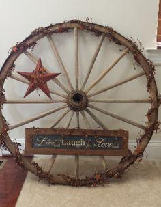 Wagon Wheel Wagon Wheel Decor, Western Wreaths, Statement Wall, Berry Wreath, Metal Stars, Old Chairs, Western Homes, Coastal Farmhouse, Front Door Decor