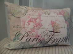 Shabby Chic French Pink Cabbage Roses Paris by Thelavenderhutcom Shabby French Chic, Shabby Vintage, Vintage Paris, Shabby Sheek Decor, Shabby Chic Cottage, Bolster Pillow, Throw Pillows, French Pillows, French Fabric