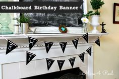 Reusable Chalkboard Painted Birthday Banner at www.mom4real.com@mom4real