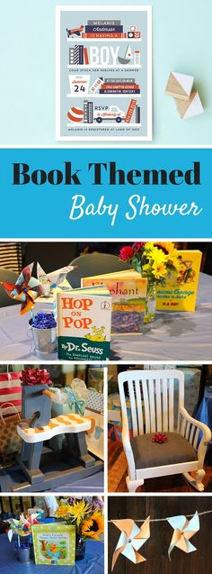 Book Themed Baby Shower perfect idea for a baby boy's party. Also stock the shelves baby shower invitation.