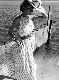 Helen Beatty wearing a dress by Claire McCardell for Mademoiselle, Oak Beach, New York, 1951. Photo by Herman Landshoff.