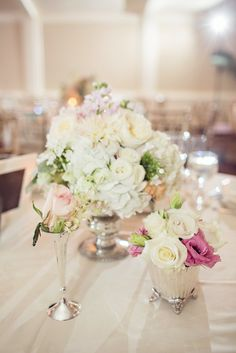 Rose and Hydrangea Centerpiece | Vicki + Erik Photographers https://www.theknot.com/marketplace/vicki-+-erik-photographers-greenwich-ct-248138 | The Inn At Longshore By OnTheMarc https://www.theknot.com/marketplace/the-inn-at-longshore-by-onthemarc-westport-ct-344973 | Just For You https://www.theknot.com/marketplace/just-for-you-middlefield-ct-234309