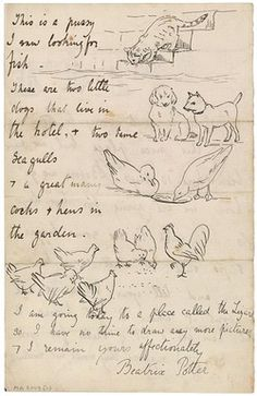 Beatrix Potter, last page of a letter she wrote, March 11, 1892. Morgan Library