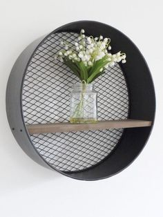 Retro Industrial Metal Wall-Mounted Circular/Round Wooden Shelf with Mesh Back in Home, Furniture & DIY, Furniture, Bookcases, Shelving & Storage   eBay!