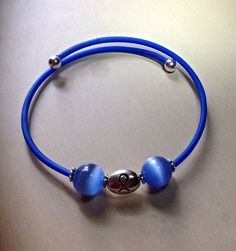 Blue Awareness Bracelet-Friendship-Memory Wire-Cats by Hopelisa