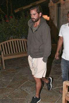 Scott Disick wearing  Adidas Ultra Boost Sneakers, John Elliott Flash Dual Zip Hoodie