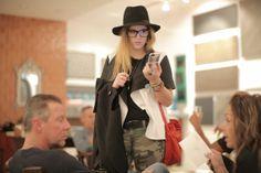 Erika Schrieber on a street styler at Art Basel Miami - black and white jacket