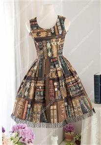 Printed Library Cotton Straps Sleeveless Sweet Lolita Dress