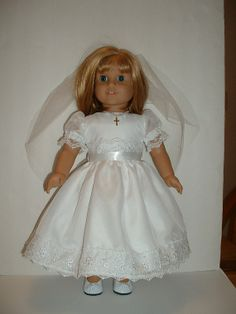 Communion, Confirmation, Wedding, special occasion dress and veil fits American girl doll clothes