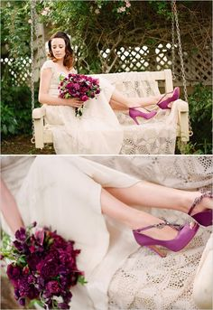 purple wedding shoes - I wouldn't choose this color, but I like matching the shoes to the bouquet!