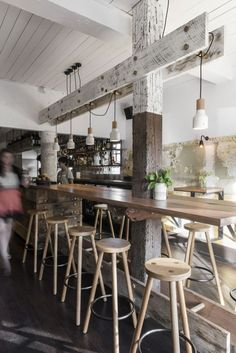 Repeated element in the very important footrest for bar seating! The Nelson / Techne Architecture + Interior Design Design Commercial, Commercial Interiors, Design Café, Cafe Design, Cabinet D Architecture, Interior Architecture, Cafe Bar, Deco Cafe, Design Bar Restaurant