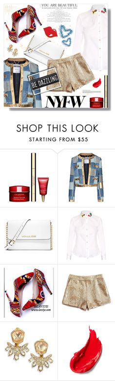 """""""Pack for NYFW!"""" by prigaut ❤ liked on Polyvore featuring Clarins, Moschino, MICHAEL Michael Kors, RED Valentino, Lucky Brand, Alexis Bittar, Estée Lauder, women's clothing, women and female"""