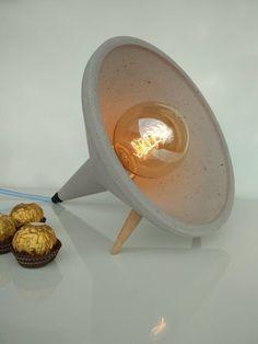 Concrete Lamp Night Light Grey Cement Table Lampe Home Decor Concrete Light, Concrete Bowl, Concrete Lamp, Industrial Style Lamps, Industrial Home Design, Plywood Furniture, Cement Table, Unique House Design, Concrete Crafts