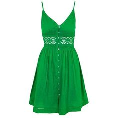 TopShop Crochet Detail Sundress (£29) ❤ liked on Polyvore featuring dresses, green button up dress, green dress, cotton sun dresses, button up dress and topshop