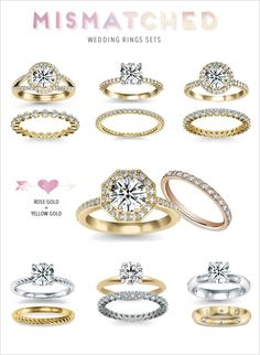 mismatched engagment rings and wedding bands | we rounded up a few of our favorite engagement rings and wedding bands ...