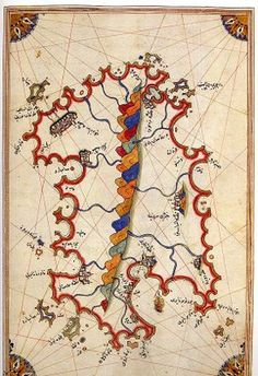 map of Sardinia by Piri Reis, century Ottoman Admiral famous for his maps and charts collected in his Kitab-ı Bahriye (Book of Navigation) Vintage Maps, Antique Maps, Piri Reis Map, Tectonique Des Plaques, Map Globe, Old Maps, Historical Maps, Illuminated Manuscript, Map Art