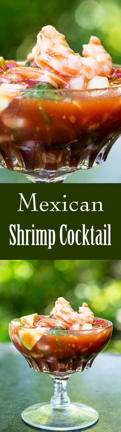 Mexican Shrimp Cocktail ~ A classic shrimp cocktail with shrimp, tomatoes, hot sauce, celery, onion, cucumber and avocados. Great appetizer for entertaining and so easy! On http://SimplyRecipes.com
