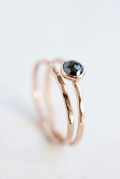 Rose cut black diamond ring, rose gold engagement ring, april birthstone, solid 14k gold ring, thin gold band, eco friendly, pink gold { D e