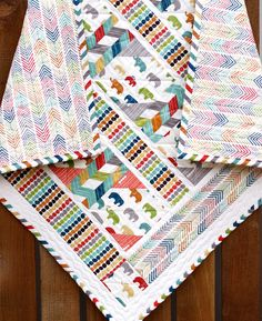 Organic Cotton Baby Quilt or Wallhanging, Birch Mod Basics Elli Fabric, Serengeti, Chevrons, Made in USA