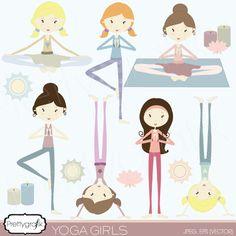Yoga girls - Illustrations & Cliparts - Yoga girls - MYGRAFICO - DIGITAL ARTS AND CRAFTS STORE